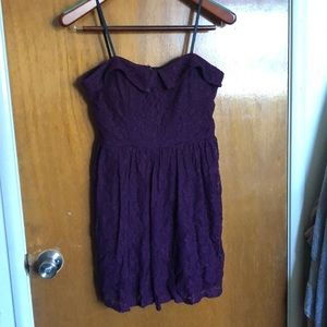Purple lace strapless dress